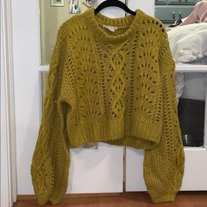 Urban Outfitters Cropped Lantern Sleeve Sweater